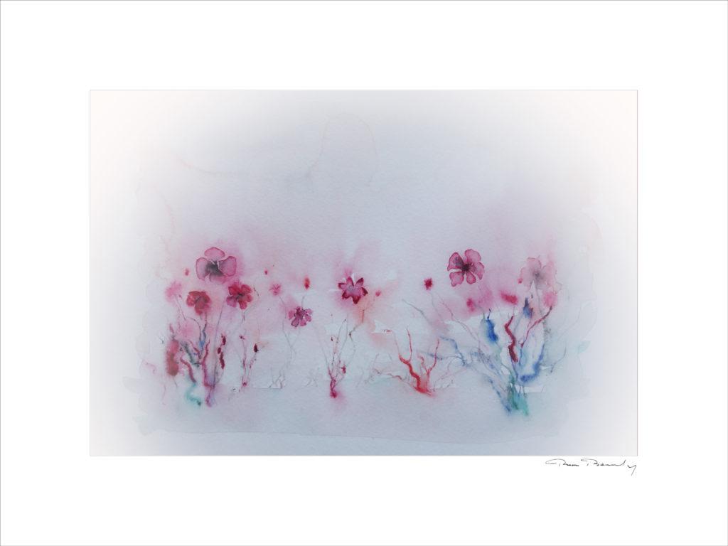 peinture, aquarelle, coquelicots, florale