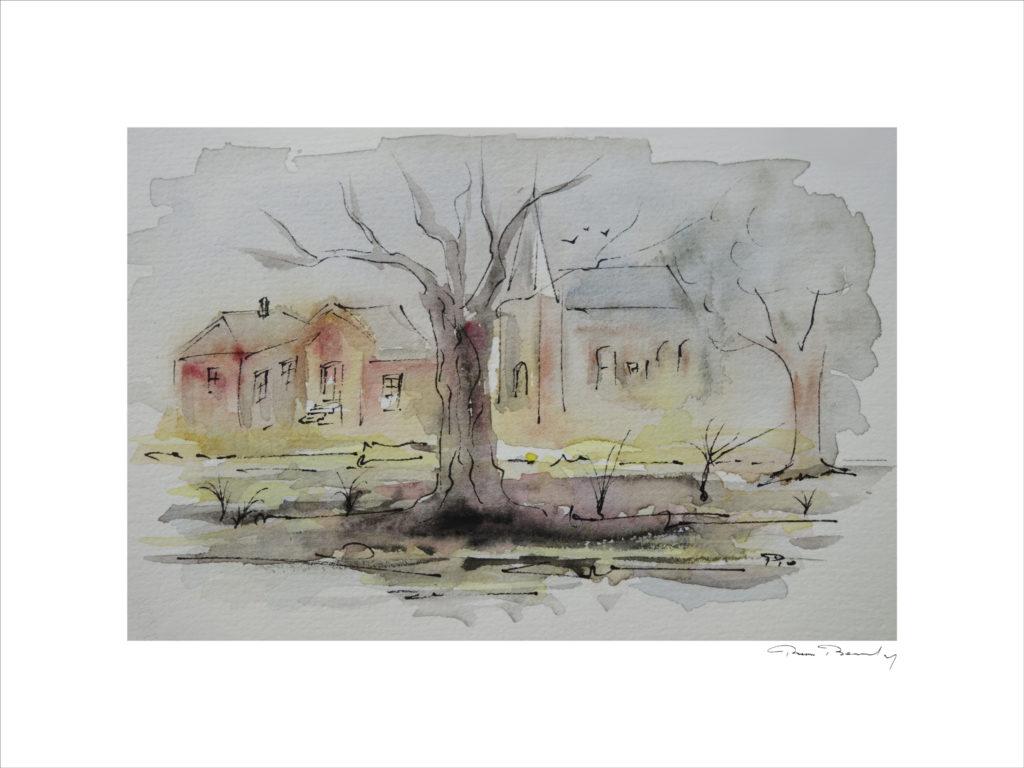 peinture, aquarelle, paysage