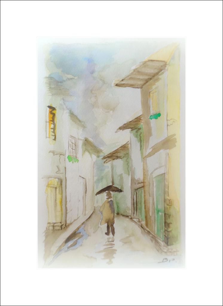 peinture, aquarelle, pluie